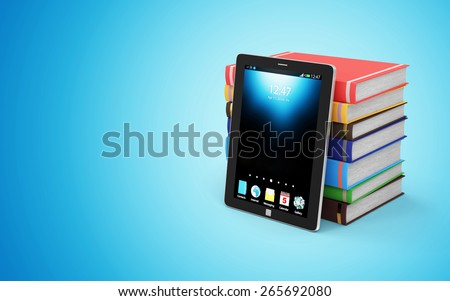Electronic Educational Technology, E-Learning or E-Book Concept. Stack of Colorful Books with Modern Tablet PC isolated on white background