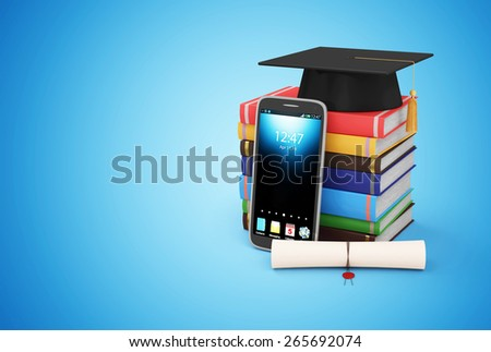 Electronic Educational Technology or E-Learning Concept. Modern Smart Phone with Graduation Cap, Diploma and Stack of Colorful Books on blue gradient background - stock photo