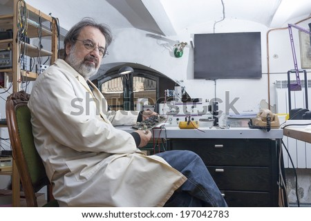 electronic engineer in the laboratory