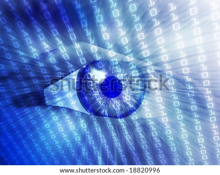 Electronic eye with glowing energy effects, digital illustration