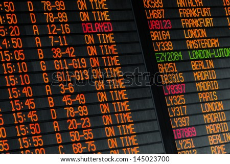 Electronic flights schedule - arrivals and departures information in international airport - stock photo