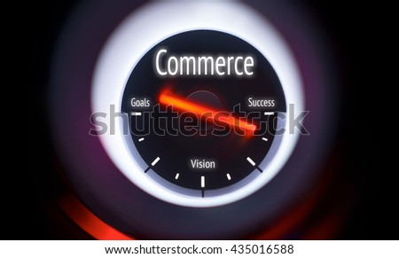 Electronic gauge displaying a Commerce Concept - stock photo