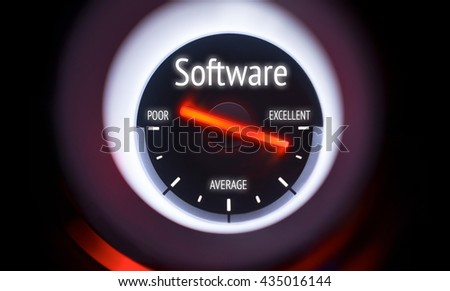 Electronic gauge displaying a Software Use Concept