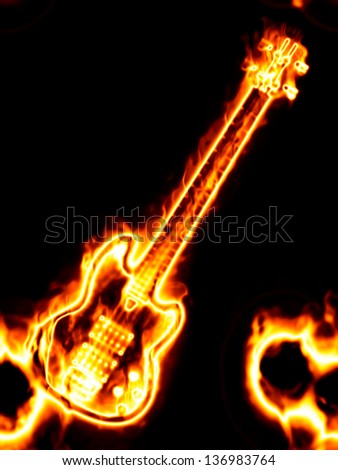 Electronic guitar in flames on a black background. - stock photo