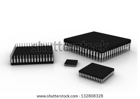 electronic integrated circuit chip on a white background - stock photo