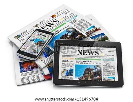 Electronic internet web and paper media concept: tablet PC computer, smartphone and heap of business office newspapers with financial news isolated on white background with reflection effect - stock photo