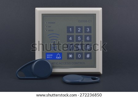 Electronic key access system to lock and unlock doors. Control access - stock photo