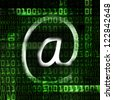 electronic mail and binary code abstract illustration - stock photo