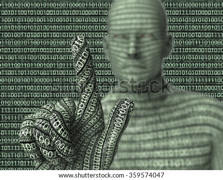 electronic man pressing virtual computer screen.