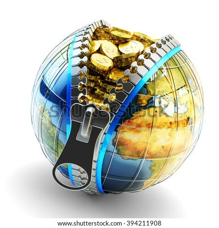 Electronic money, digital cash, online wallet and internet business concept, Earth globe with zipper full of gold coins isolated on white (Elements of this image furnished by NASA) - stock photo