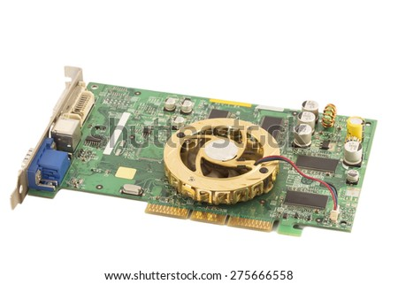 Electronic mother board isolated - stock photo
