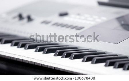 Electronic music instrument. Close-up photo. Shallow depth of field added for natural look - stock photo