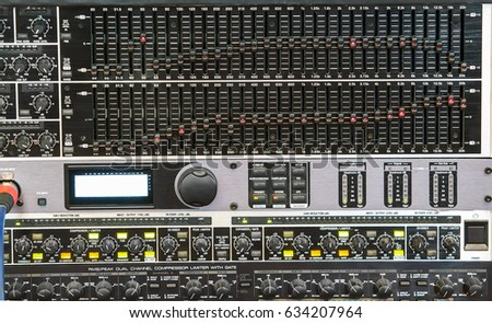 Electronic music mixing console close-up