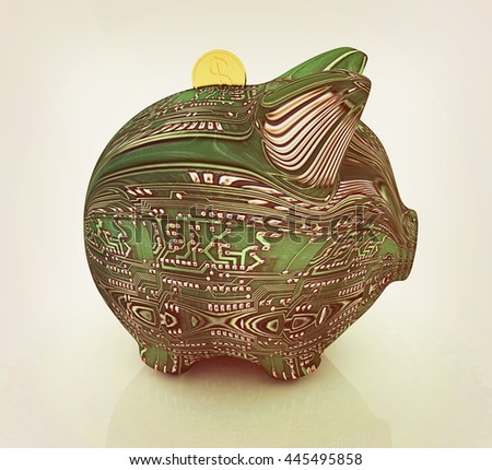 electronic piggy bank on white background. 3D illustration. Vintage style. - stock photo