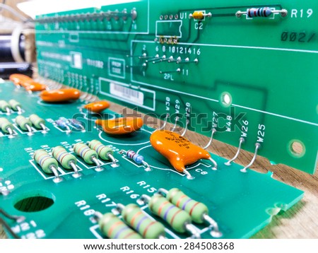 electronic printed circuit board (Green PCB) - stock photo