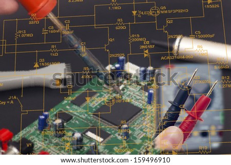 Electronic reparation in black background - stock photo