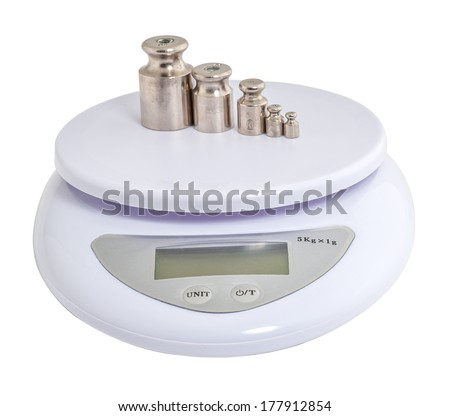 electronic scales with weights - stock photo