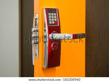 Electronic Security door lock - stock photo