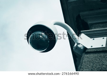 electronic security video camera of surveillance - stock photo
