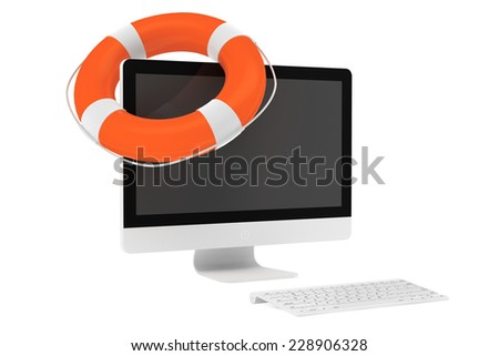 Electronic Service concept. Desktop computer with Life Buoy on a white background - stock photo