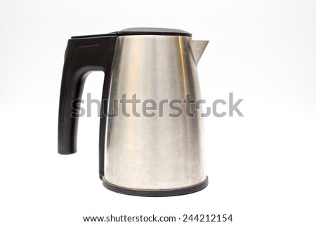 Electronic stainless still boiler in white background. - stock photo