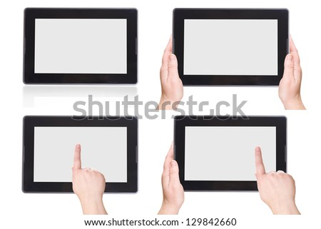 Electronic Tablet PC on a white background. The set