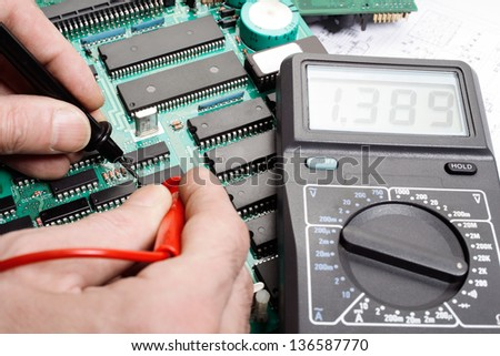 Electronic technician - stock photo