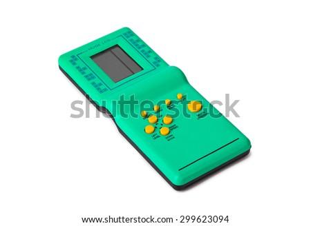 Electronic tetris game isolated on white background - stock photo