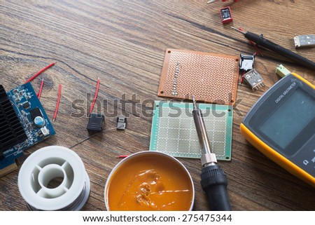 Electronic tools and components background photo - stock photo
