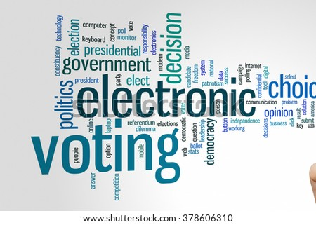 Electronic voting concept word cloud background - stock photo