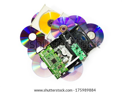 Electronic waste. Broken CD and DVD players. On white background. - stock photo
