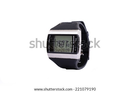 electronic watches on a white background - stock photo
