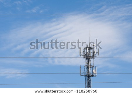 Electronic wireless telecommunication device radio transmitter with antenna on blue sky in Poland. Visible three wires of electric power grid pylon, altocumulus clouds afar. Polish nadajnik radiowy.