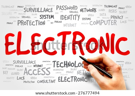 ELECTRONIC word cloud, business concept - stock photo