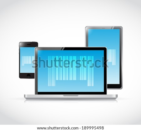 electronics and barcodes illustration design over a blue background