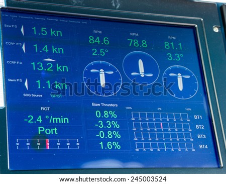 Electronics and controls on a modern ship - stock photo