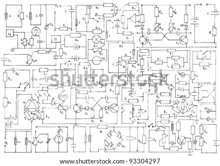 Electronics background with circuit diagrams - stock photo