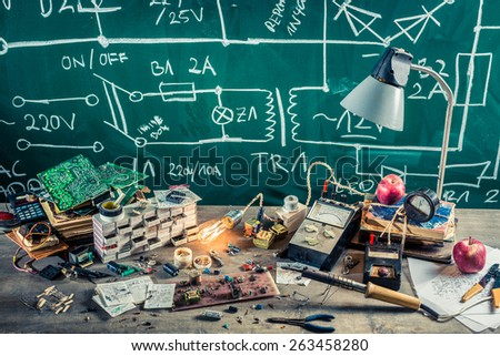 Electronics components in school lab - stock photo