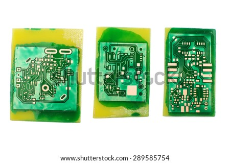 Electronics design concept: three handmade PCB printed circuit board