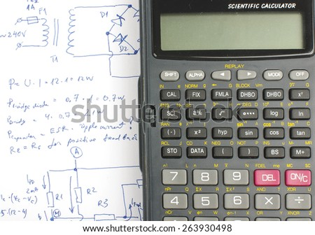 Electronics design notes and science calculator - stock photo
