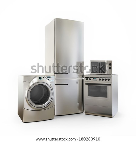 Electronics Fridge Microwave washer and electric-cooker Home Appliances - stock photo