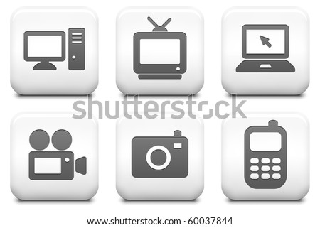 Electronics Icons on Square Black and White Button Collection Original Illustration - stock photo