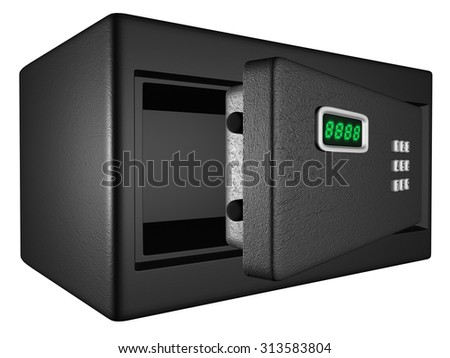 Electronics Safe Open, 3D isometric illustration on white background - stock photo