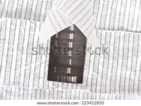 Electrophoresis picture in a paper bag with DNA sequence and on a crumpled DNA sequence background - stock photo