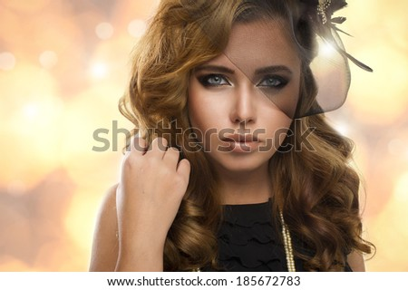 Elegance blonde woman with beauty eyes