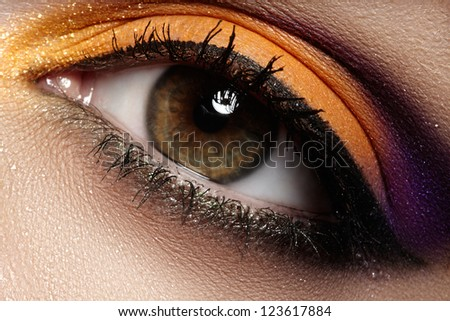 Elegance close-up of female eye with celebratory bright color eyeshadow. Macro shot of beautiful woman's face part. Wellness, cosmetics and make-up. Chic holiday visage - stock photo