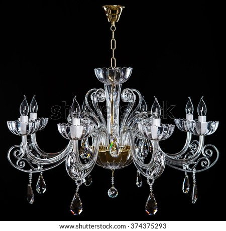 Elegance Crystal Strass Chandelier Eight Lamps Stock Photo Royalty - Strass chandelier crystals