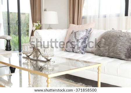 elegance cushion on sofa ,living room. - stock photo