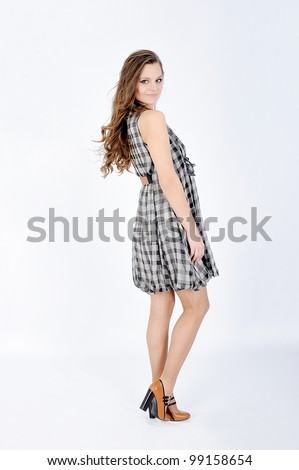 elegance fashion girl in a white background