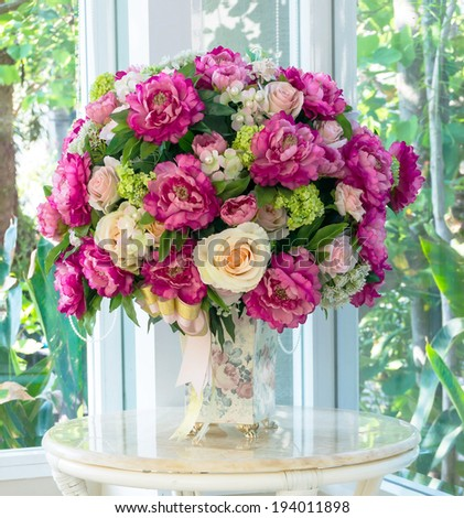 elegance flower bouquet on table  - stock photo